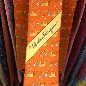 Salvatore Ferragamo Accessories - Ferragamo tie. Orange and yellow. Animals print.
